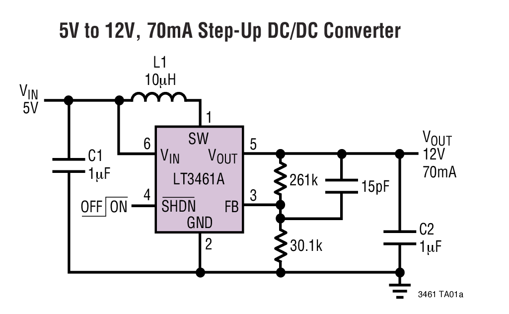 LT3461A 采用 ThinSOT 封裝并具集成型肖特基整流器的 3MHz 升壓型DC/DC 轉換器