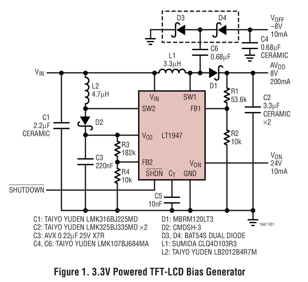 LT1947 可调输出 TFT-LCD 三路开关稳压器