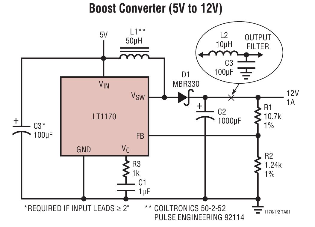 LT1170 100kHz、5A、2.5A 和 1.25A 高效率开关稳压器