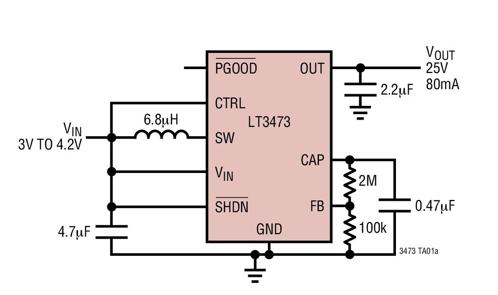 LT3473 内置肖特基二极管并具输出断接功能的微功率 1A 升压型转换器