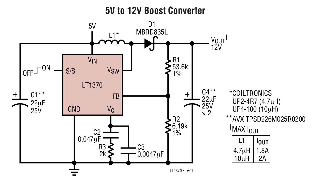 LT1370 500kHz、高效率 6A 开关稳压器