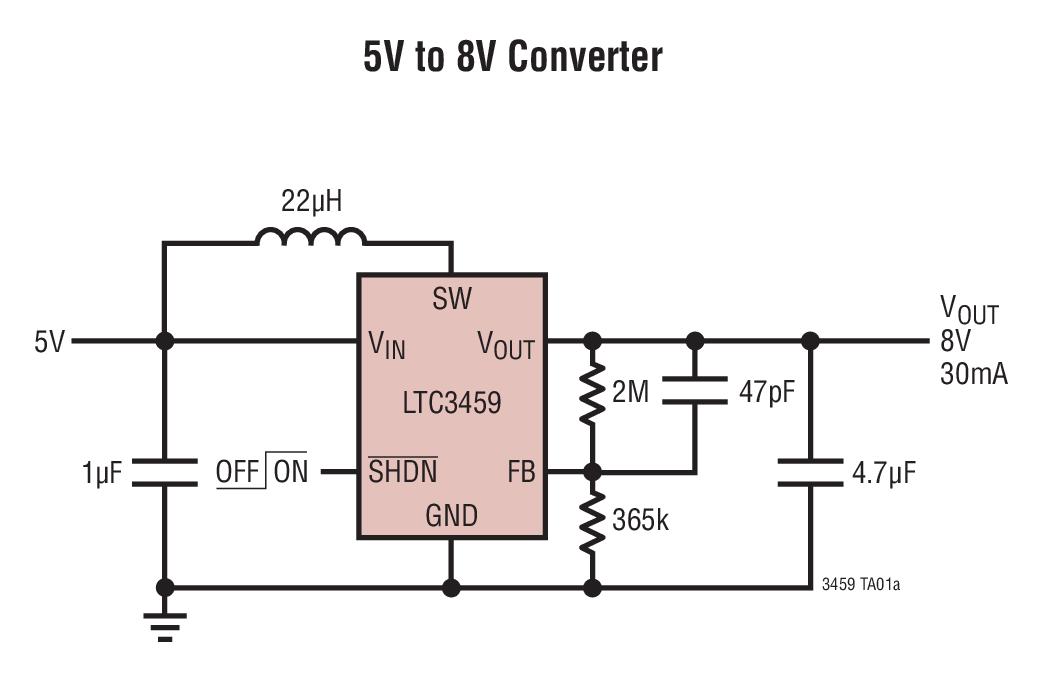 LTC3459 10V 微功率同步升压型转换器