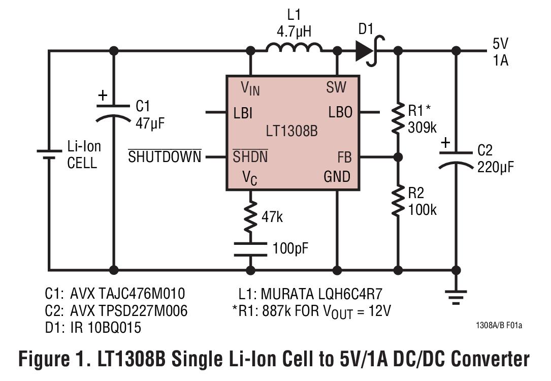 LT1308A 大電流、微功率、單(dan)電池(chi)、600kHz DC/DC 變換器