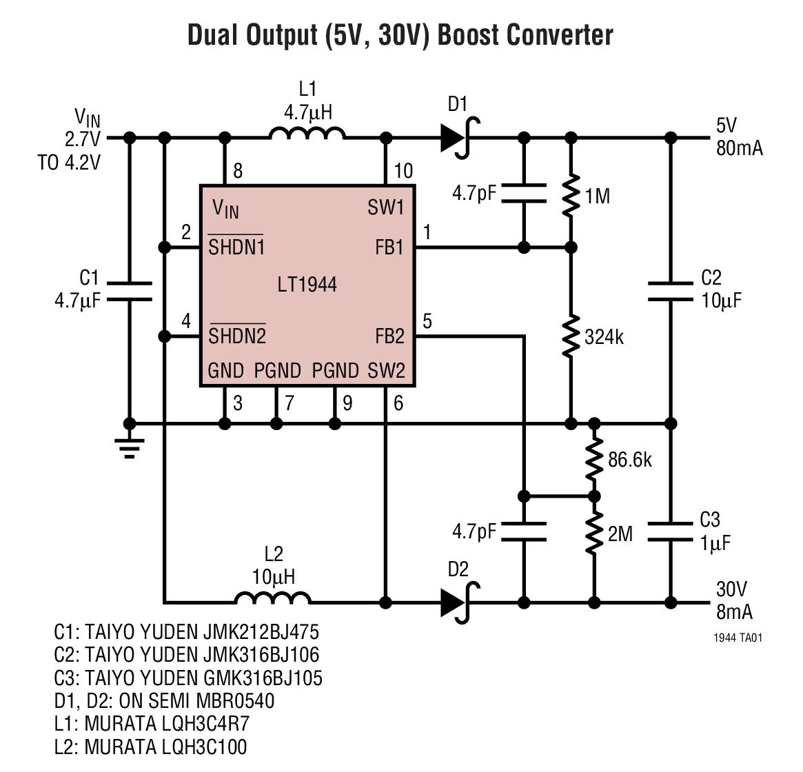 LT1944 雙通道、微功率升壓型 DC/DC 轉換器