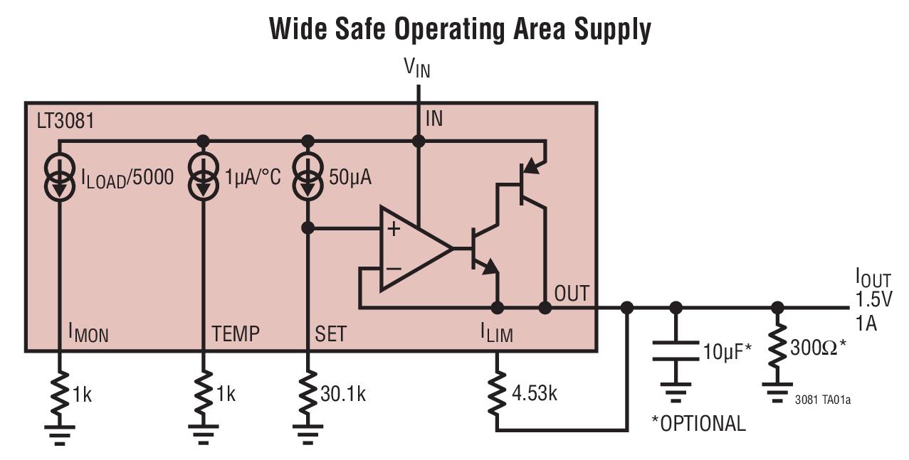 LT3081 具监视器的 1.5A 单电阻器坚固型线性稳压器