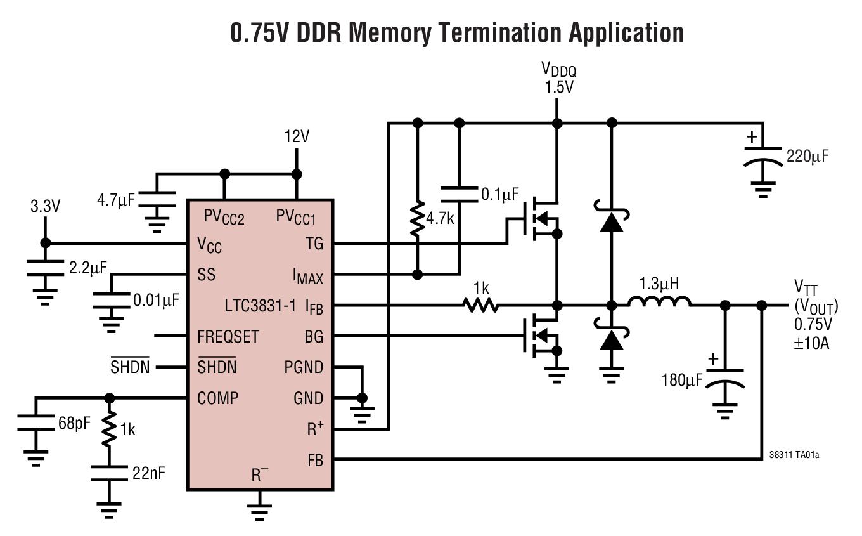 LTC3831-1 用于 DDR 存储器终端的高功率同步开关稳压控制器