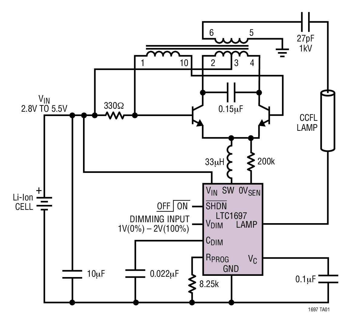 LTC1697 高效率、低功率 1W CCFL 開關穩壓器