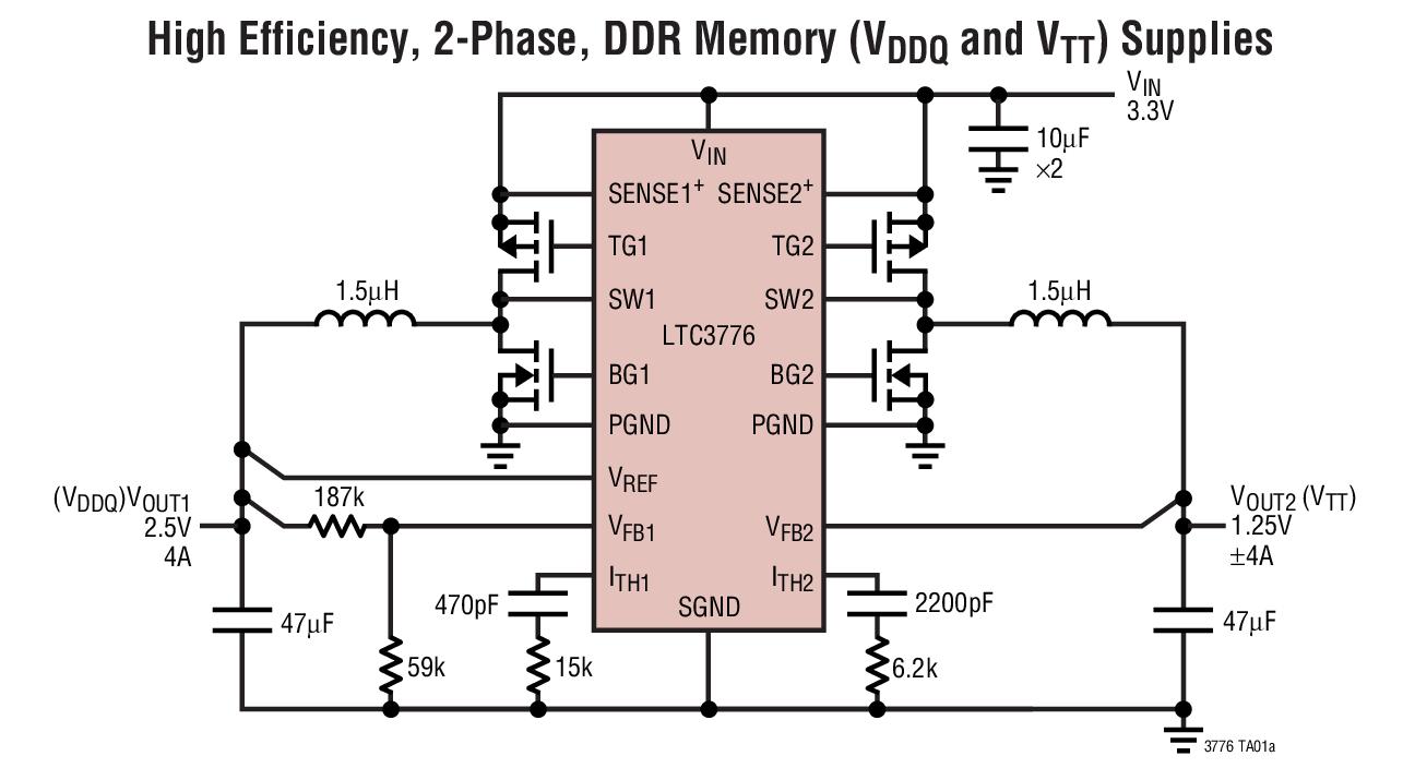 LTC3776 用于 DDR/QDR 存储器终端的双输出、两相、No RSENSE? 同步控制器