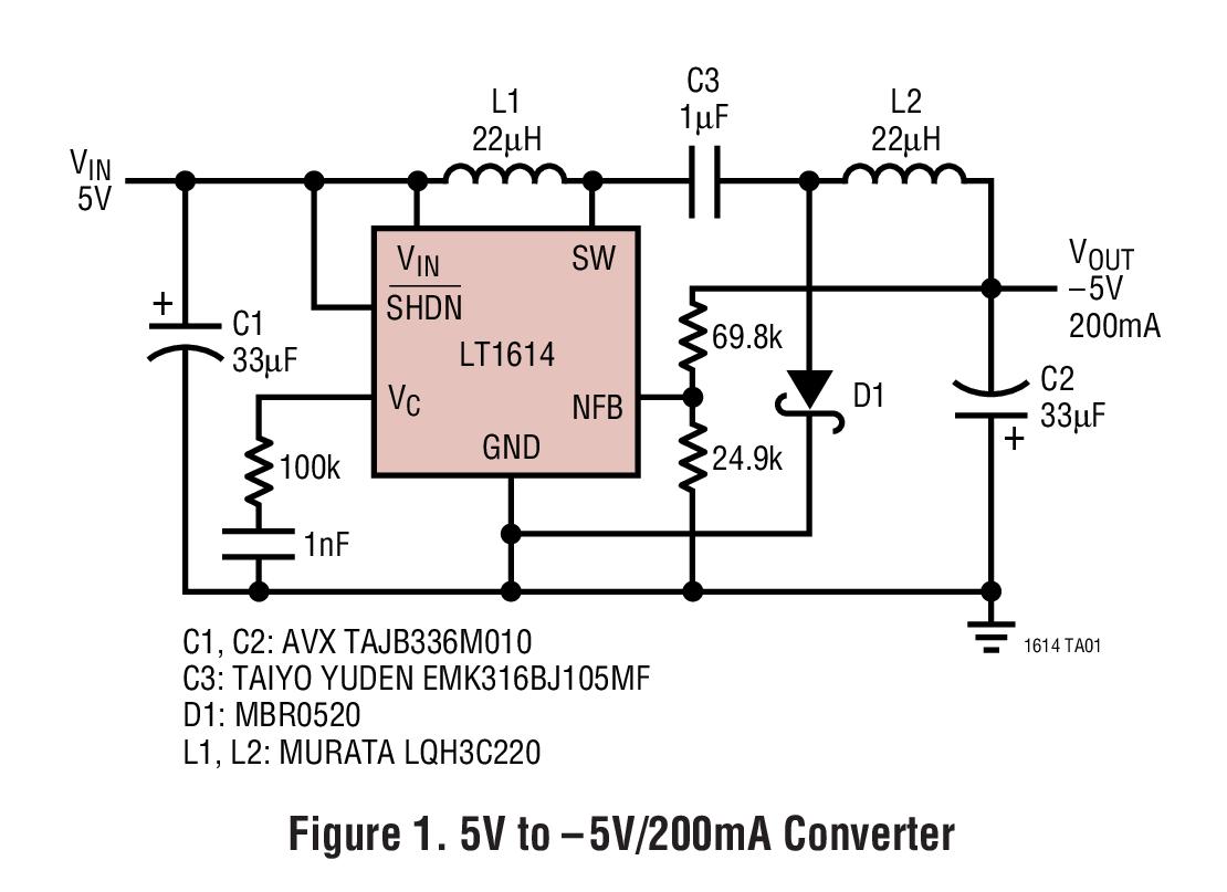 LT1614 负输出 600kHz 开关稳压器