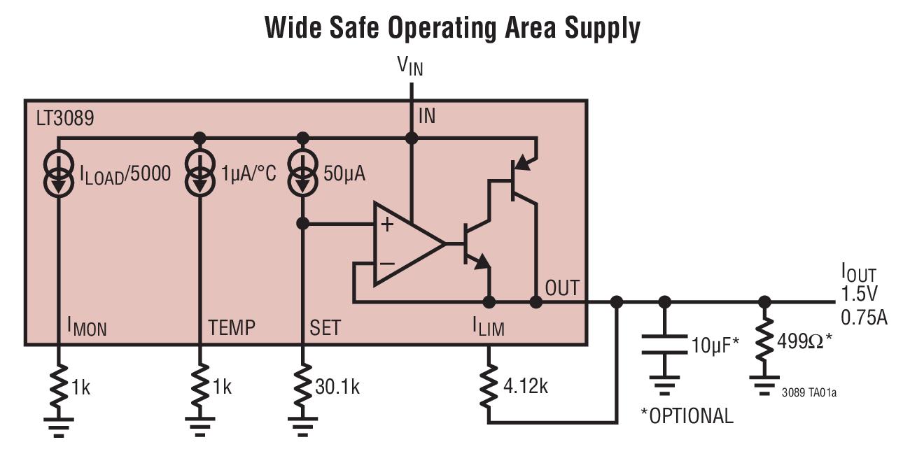 LT3089 具监视器的 800mA 单电阻器坚固型线性稳压器