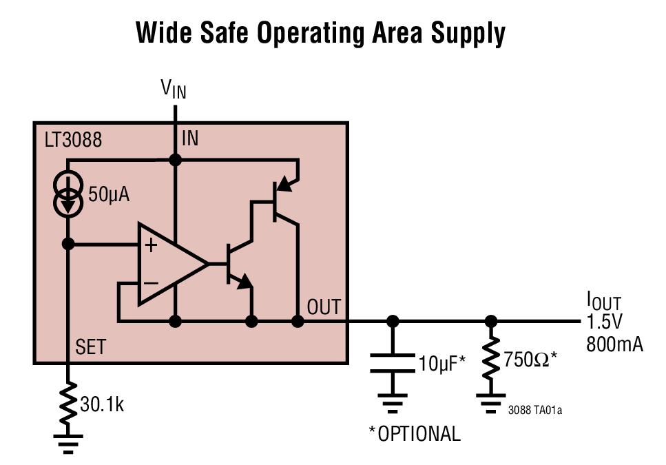LT3088 800mA 单电阻器坚固型线性稳压器