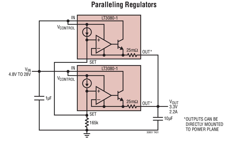 LT3080-1 可并联、1.1A、输出可调的单电阻低压差稳压器
