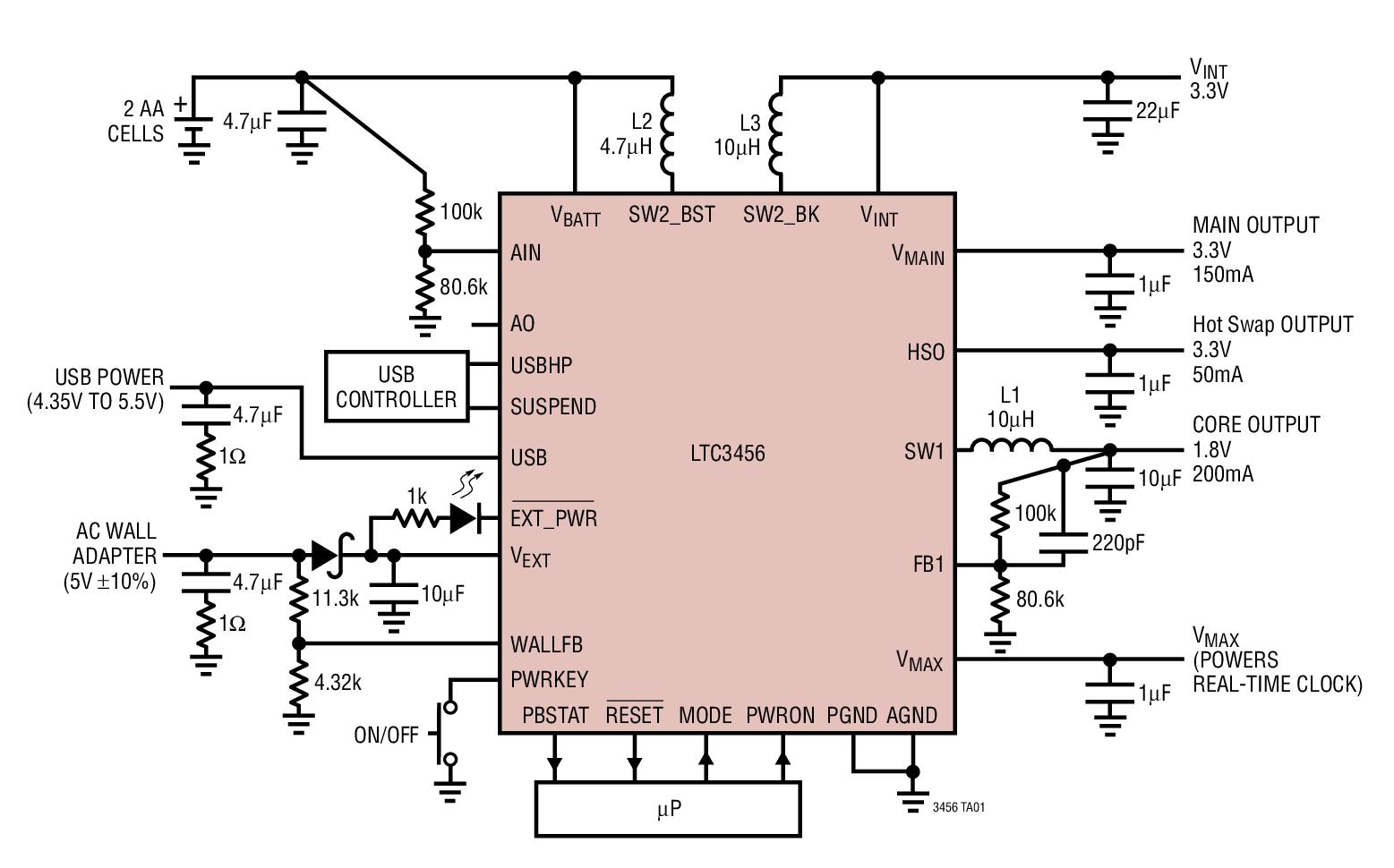 LTC3456 具有 USB 电源管理器的两节电...