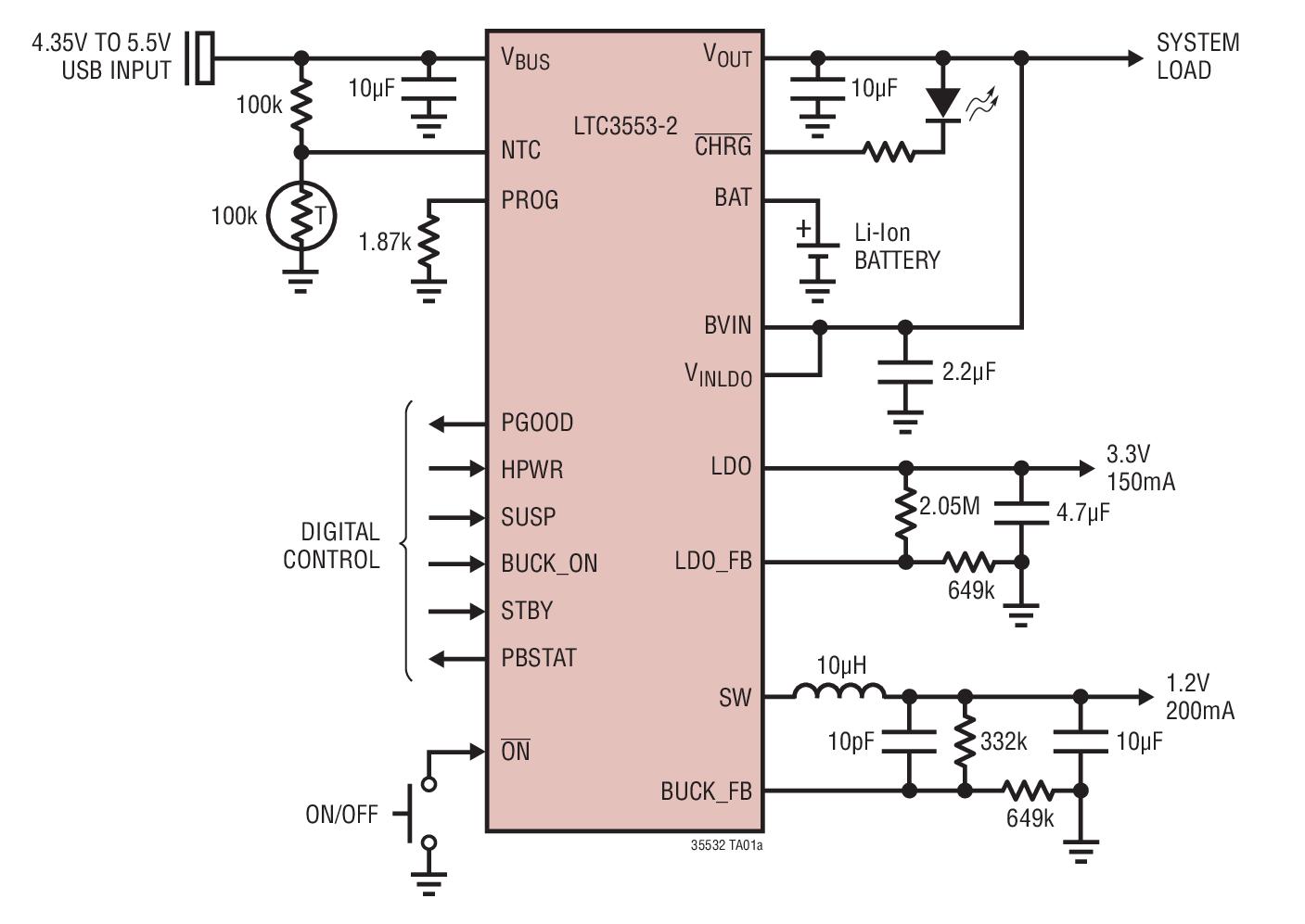 LTC3553-2 具锂离子电池充电器、始终保持接通的 LDO 和降压型稳压器的微功率 USB 电源管理器