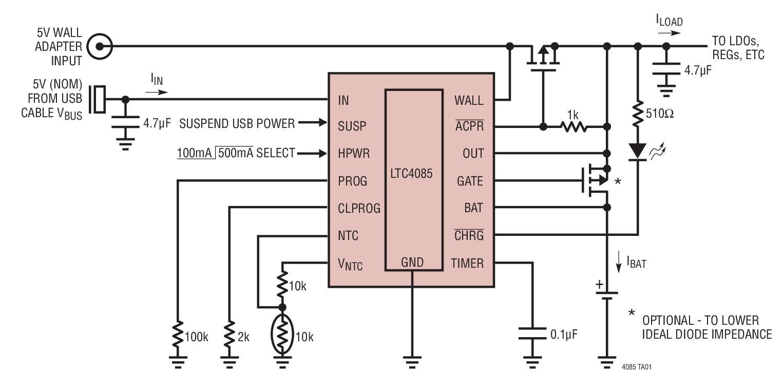 LTC4085 具有理想二极管控制器和锂离子电池充电器的 USB 电源管理器