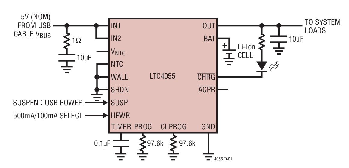 LTC4055 USB 电源控制器和锂离子电池充电器
