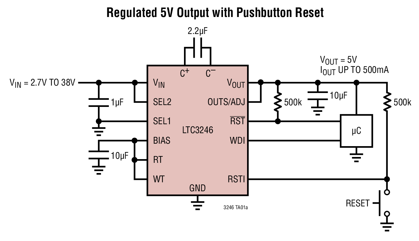 LTC3246 具看門狗定時器的寬 VIN范圍、降壓-升壓型充電泵