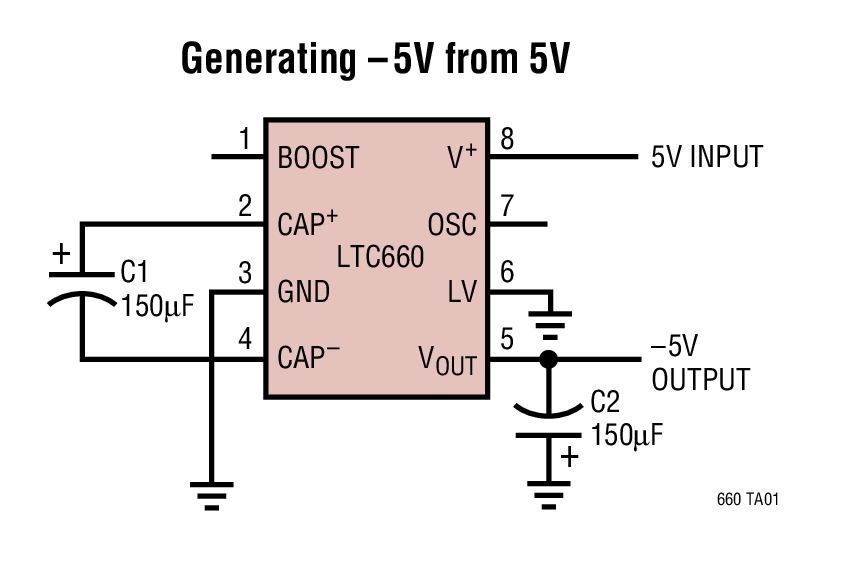 LTC660 100mA CMOS 电压转换器