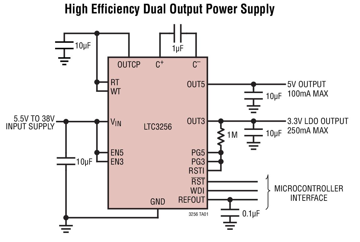 LTC3256 具看門狗定時器的寬 VIN 范圍、雙輸出、350mA 降壓型充電泵