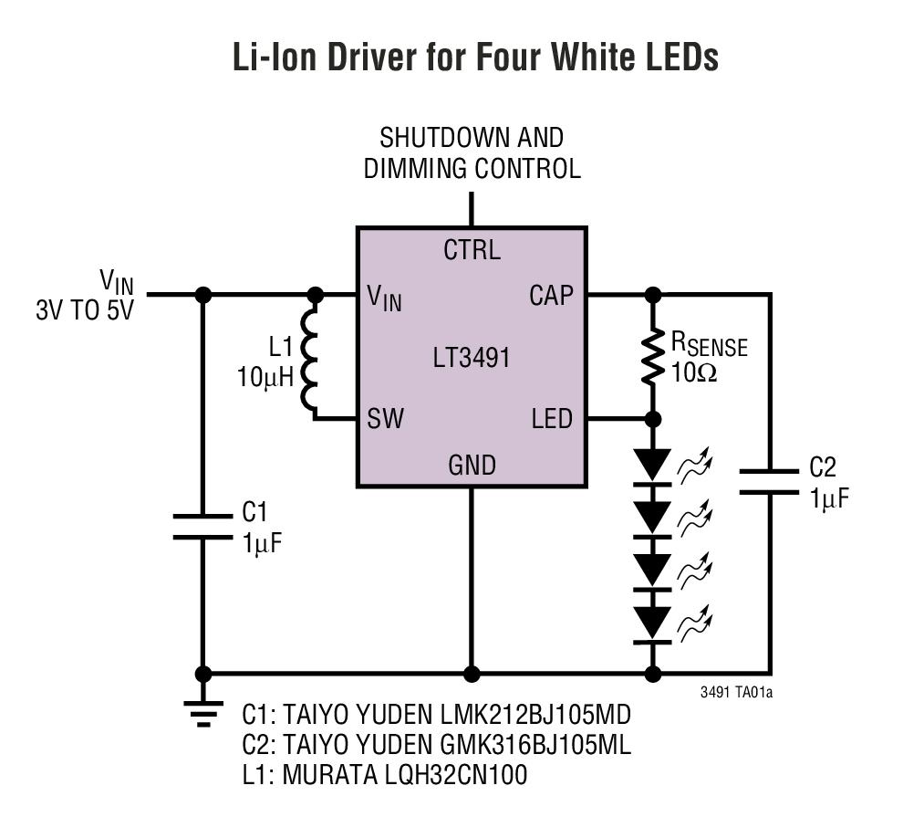 LT3491 采用 SC70 和 2mm x 2mm DFN 封装、 具有集成肖特基二极管的 白光 LED 驱动器