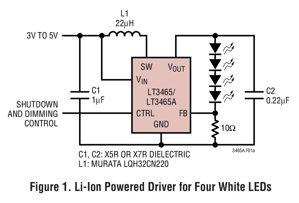 LT3465 采用 ThinSOT 封装并内置肖特基二极管的 1.2MHz / 2.4MHz 白光 LED 驱动器