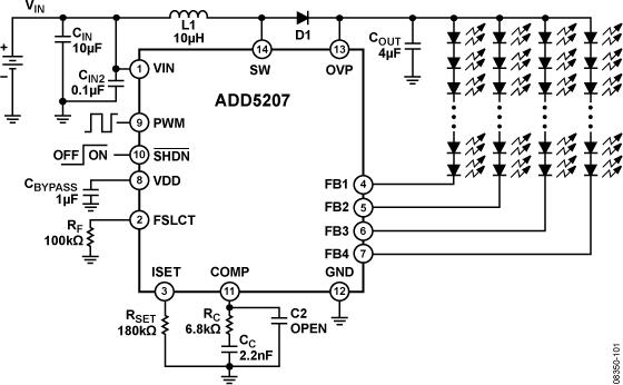 ADD5207 适合LCD背光应用的4串白光LED驱动器