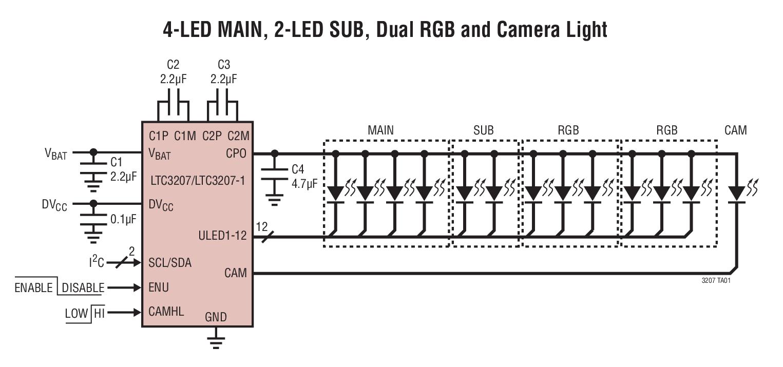 LTC3207 600mA 通用型多输出 LED...