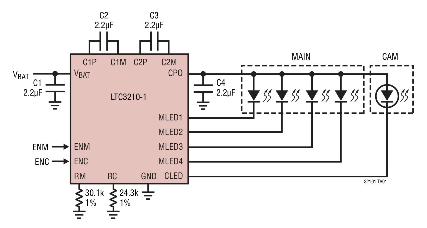 LTC3210-1 采用 3mm x 3mm QFN 封装、具 64 级亮度控制能力的主/相机 LED控制器
