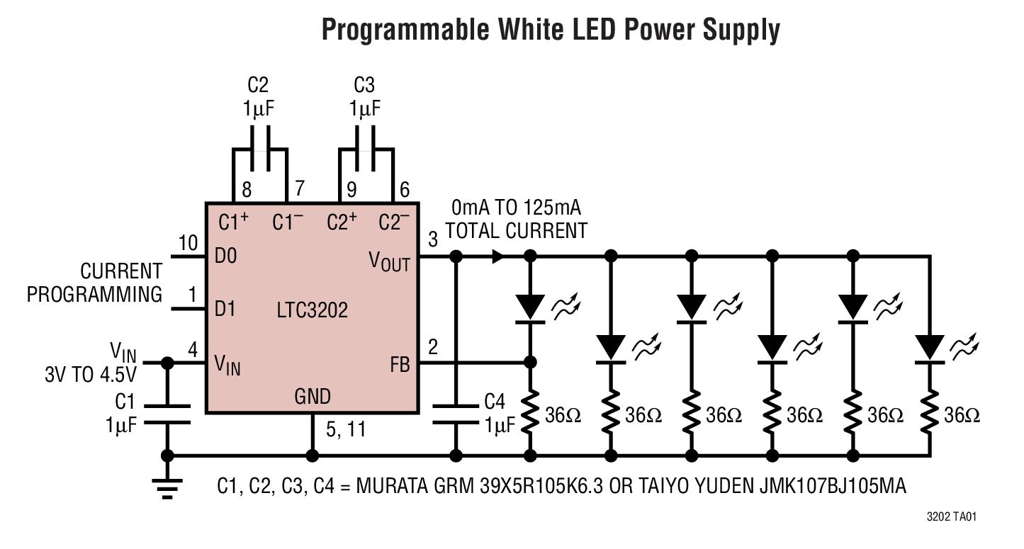 LTC3202 用于白光 LED 的低噪声、高效率充电泵