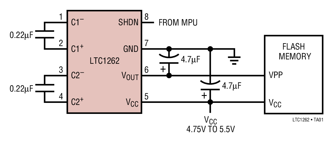 LTC1262 12V、30mA 闪速存储器编程电源
