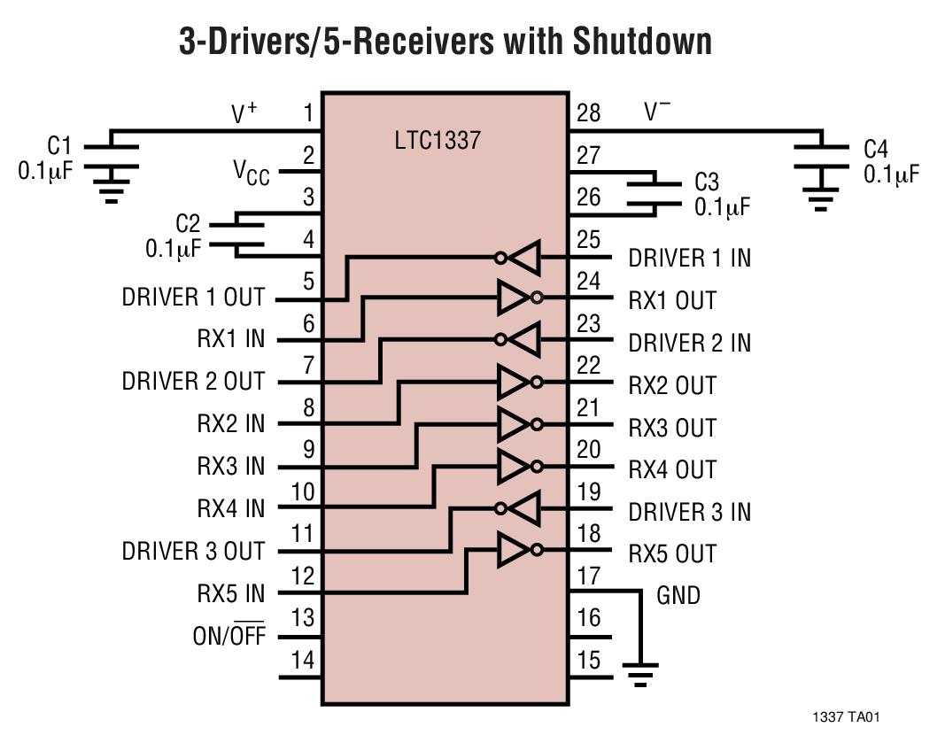 LTC1337 5V、低功率、RS232、3 驅動器 / 5 接收器收發器