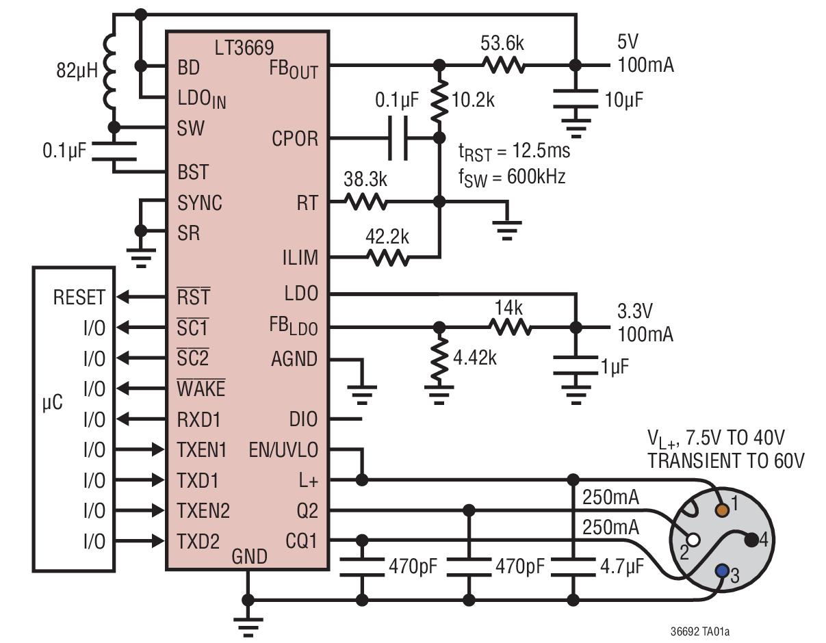 LT3669 具集成型降压转换器和 LDO 的 ...