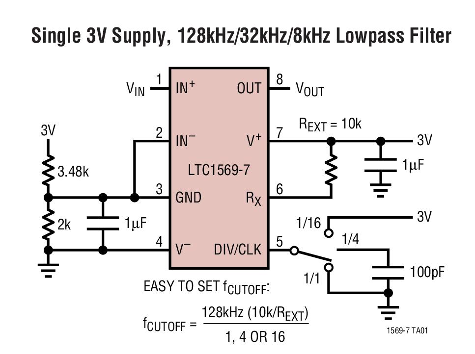 LTC1569-7 线性相位、DC 准确、可调谐、10 阶低通滤波器