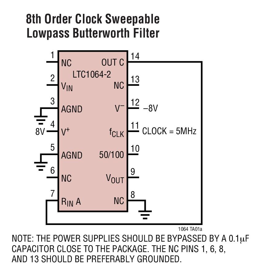 LTC1064-2 低噪声、高频、8 阶 Butterworth 低通滤波器