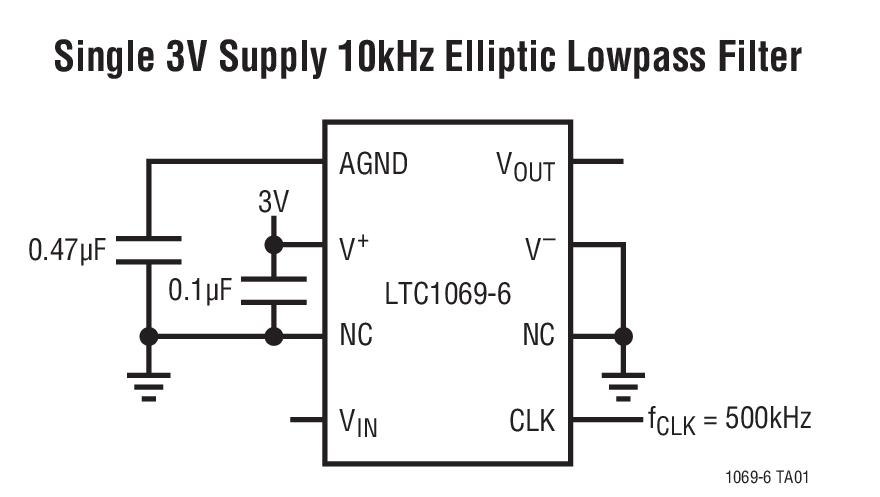 LTC1069-6 单电源、非常低功率、椭圆低通滤波器