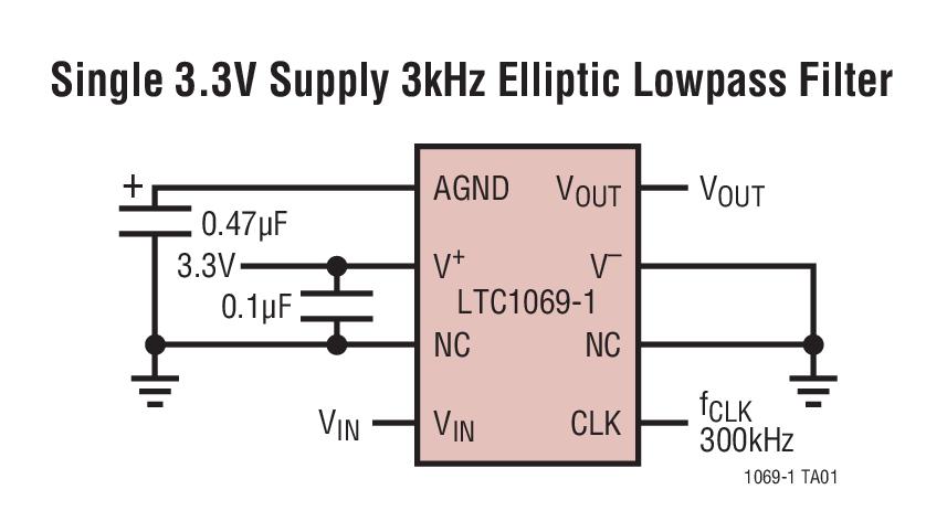 LTC1069-1 低功率、8 阶渐进式椭圆、低通滤波器