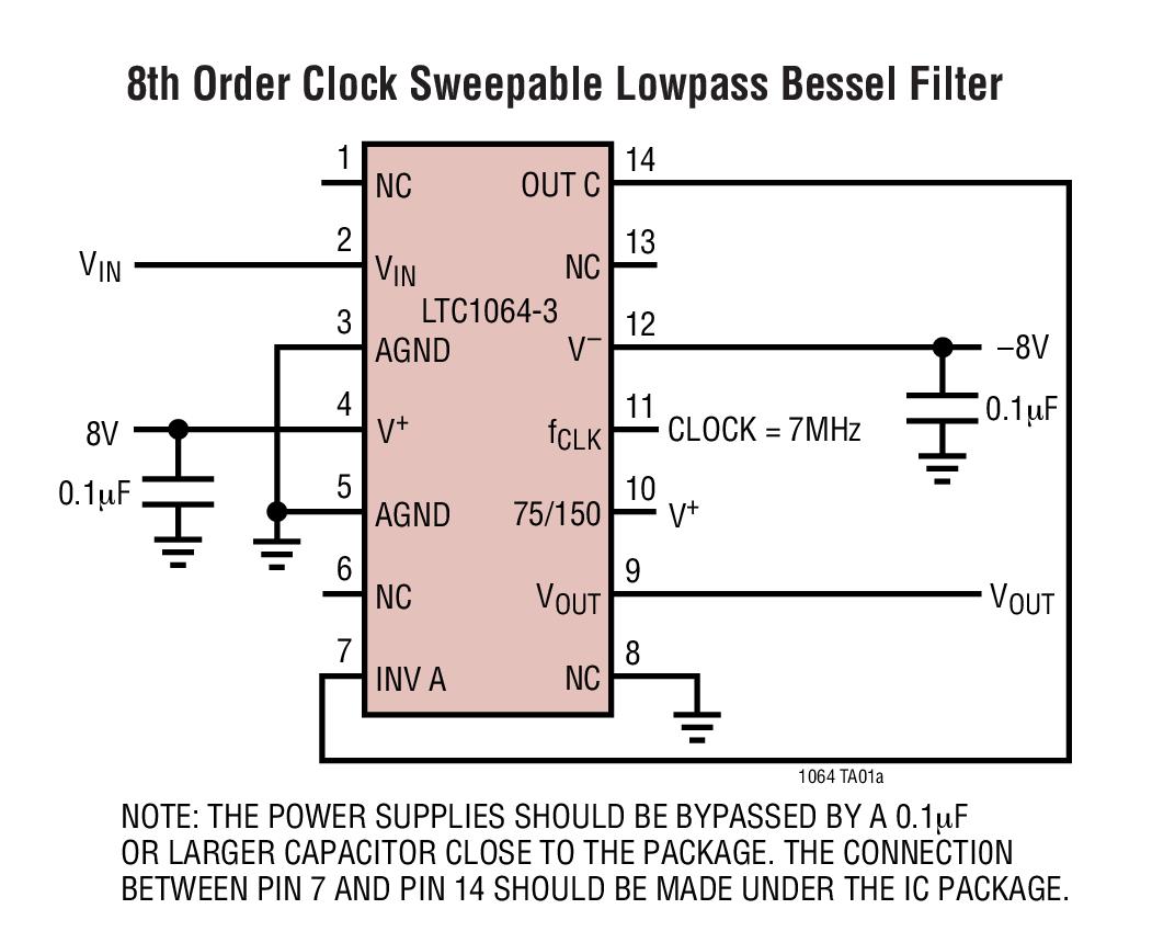LTC1064-3 低噪声、高频、8 阶线性相位低通滤波器