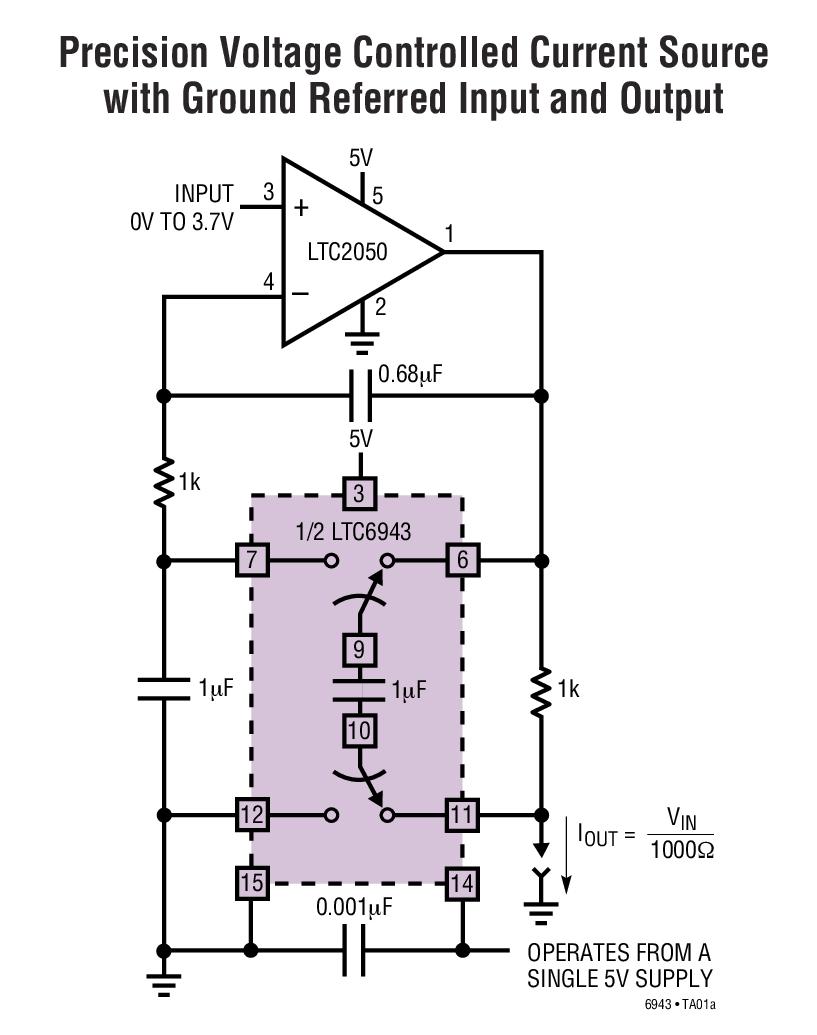 LTC6943 微功率、精準儀表雙開關電容器單元式部件