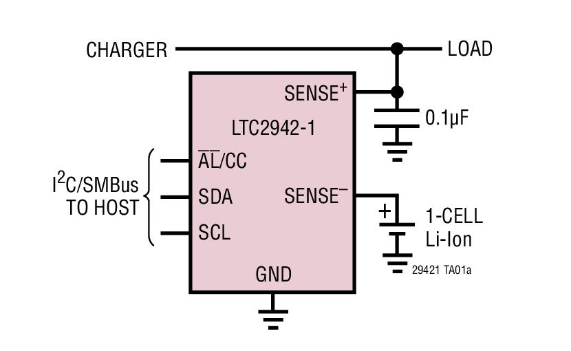 LTC2942-1 具内部检测电阻器和温度/电压测量功能的 1A 电池电量测量芯片