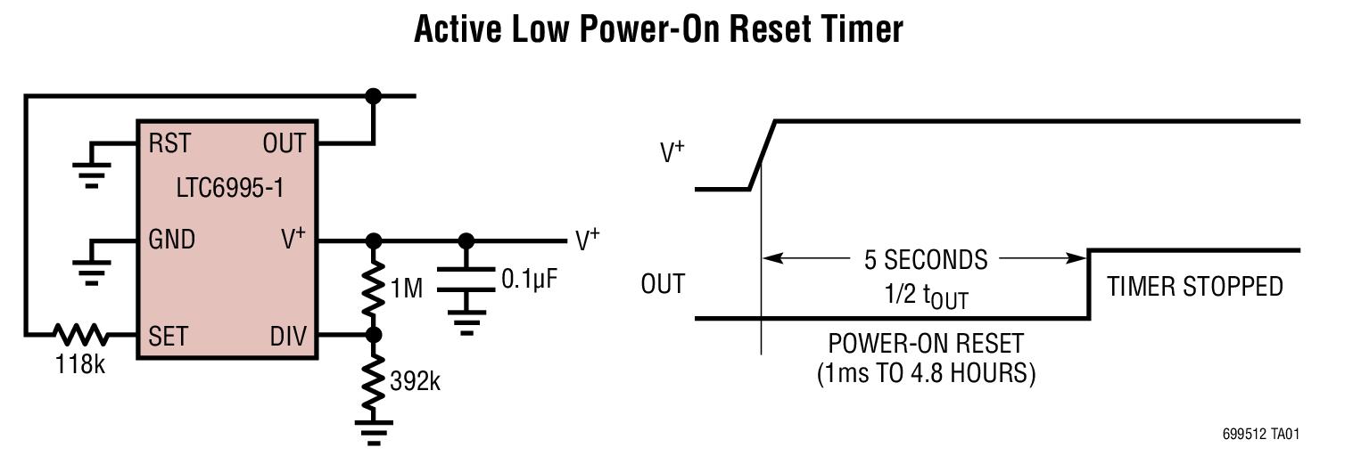 LTC6995-1 TimerBlox:长时间定时器、低频振荡器