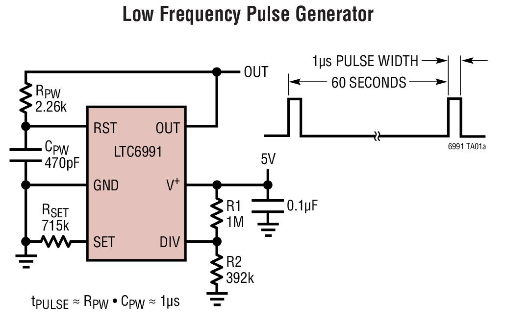 LTC6991 TimerBlox:可重置的低频振荡器