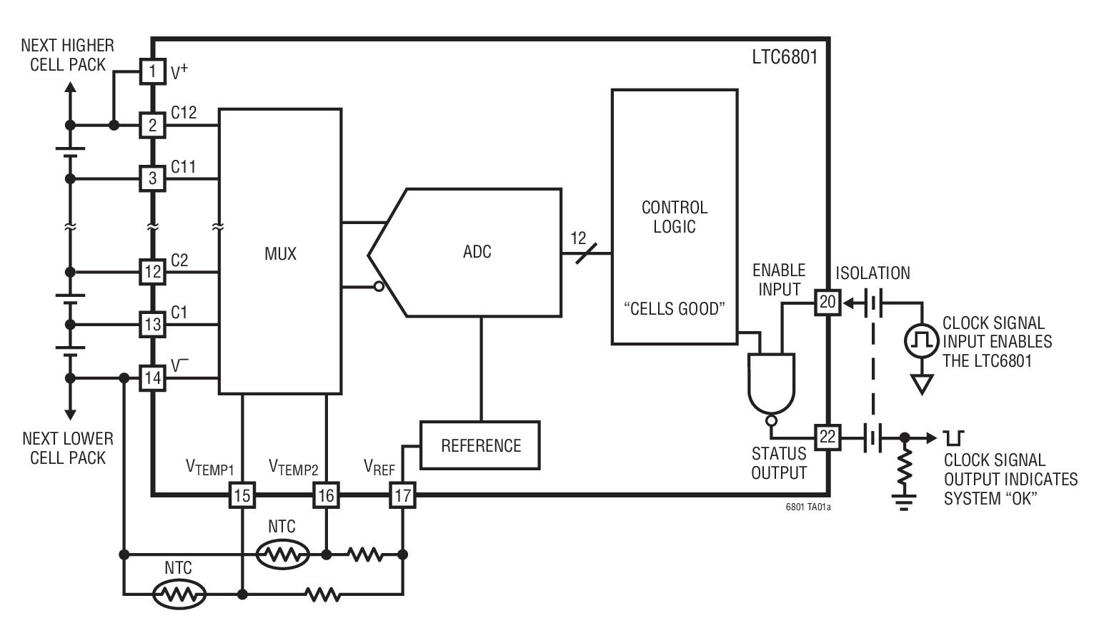 LTC6801 独立型多节电池的电池组故障监视器