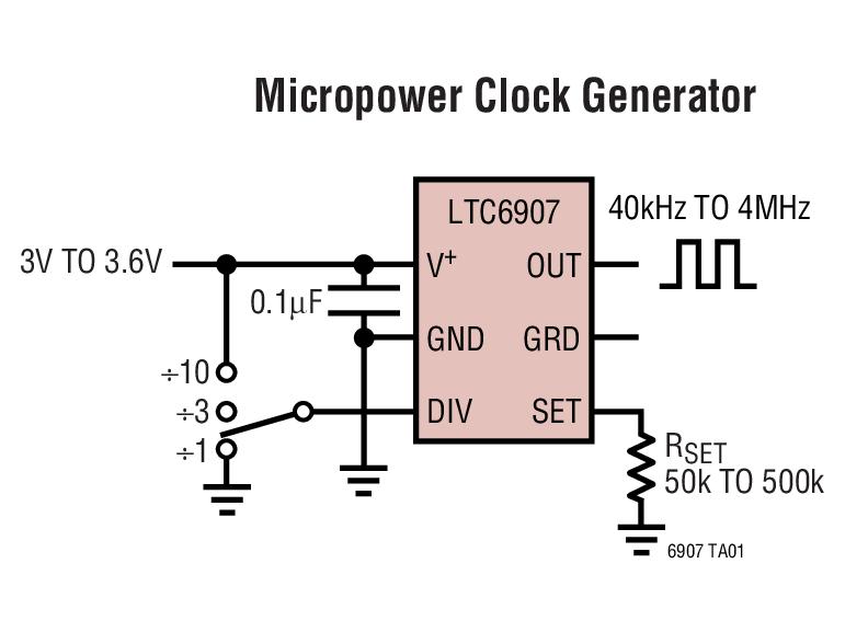 LTC6907 采用 SOT-23 封装、微功率、电阻器设定 40kHz 至 4MHz 频率的振荡器