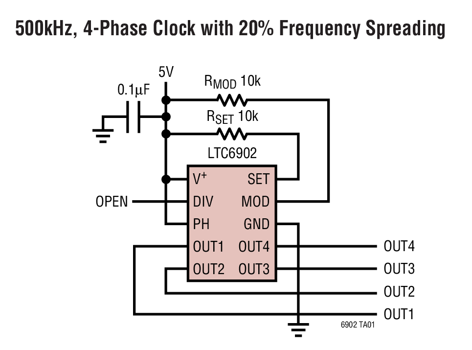 LTC6902 具扩频频率调制功能的多相振荡器