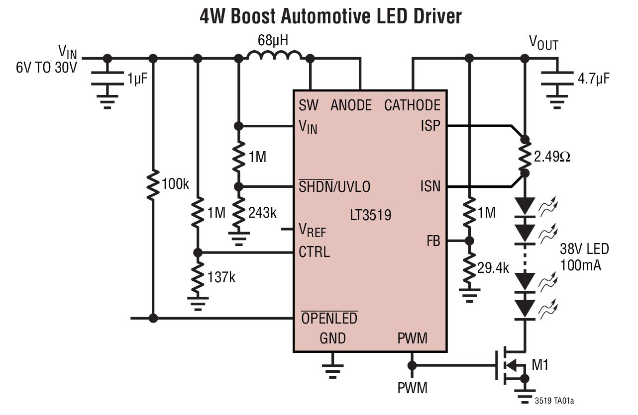 LT3519 具集成肖特基二极管的 LED 驱动...