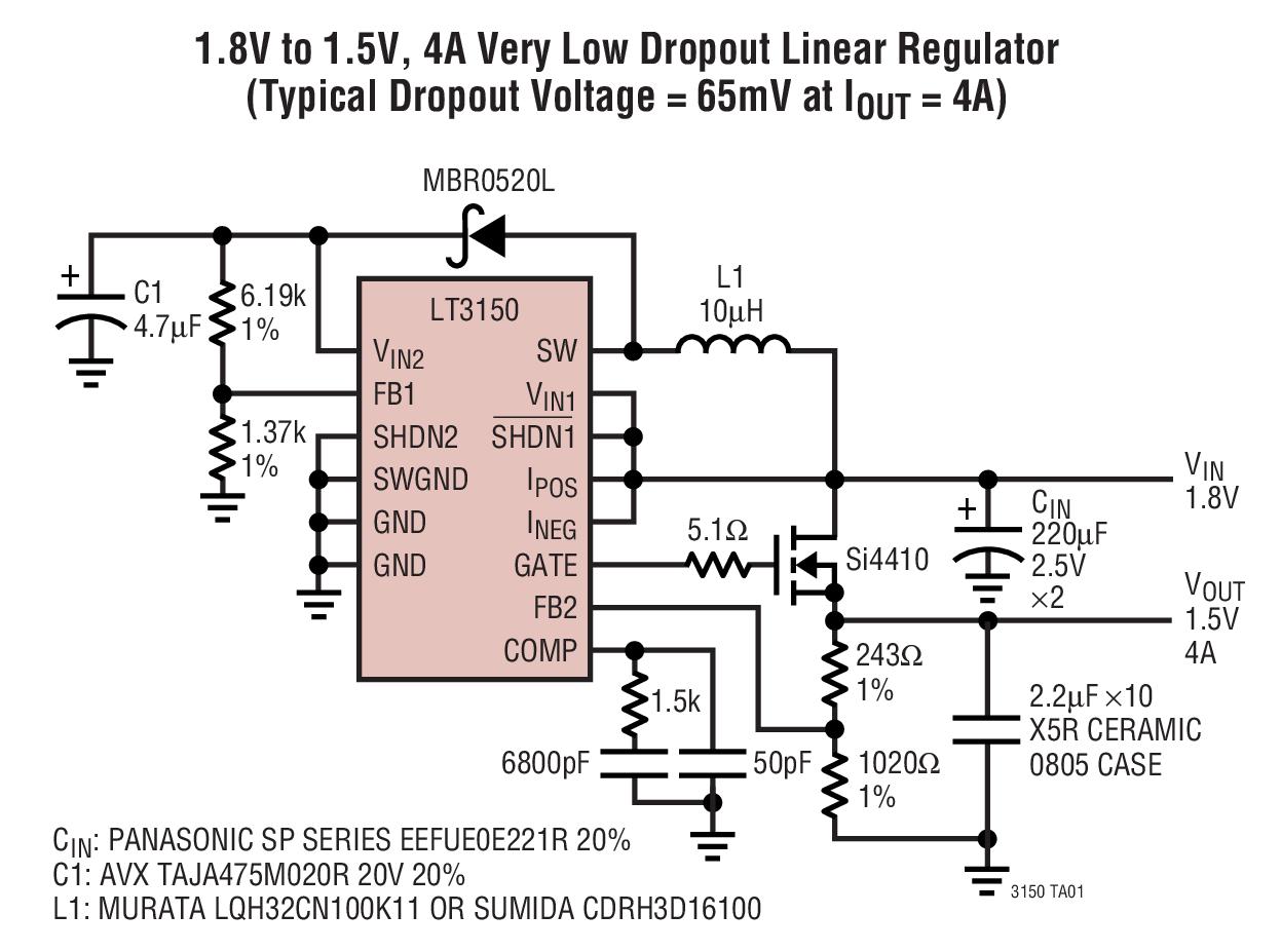 LT3150 快速瞬态响应、低输入电压、非常低压差线性稳压器