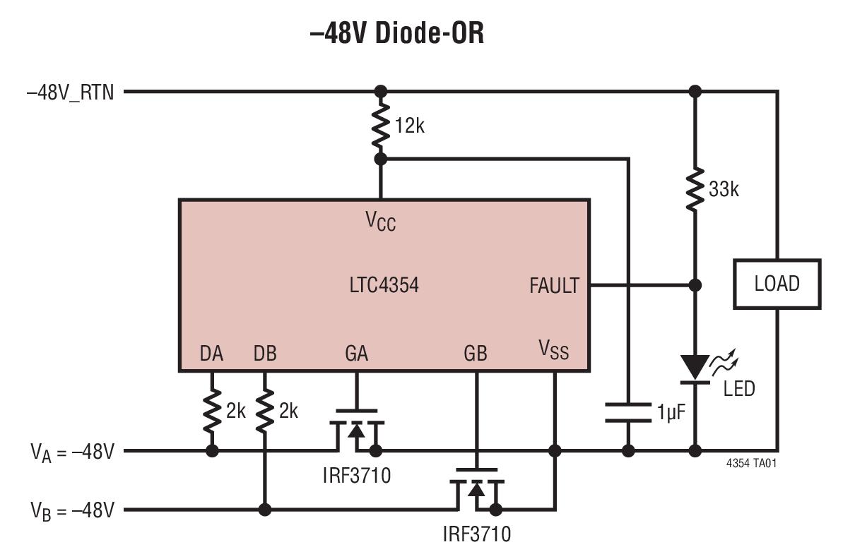 """LTC4354 负电压二极管""""或""""控制器和监视器"""