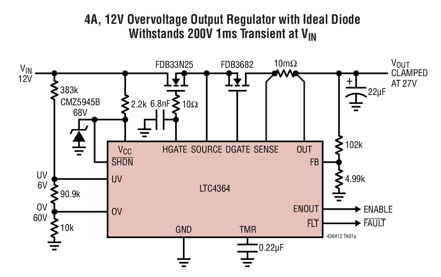 LTC4364 具理想二极管的浪涌抑制器