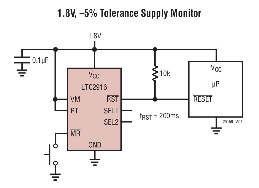 LTC2916 具 27 种可选门限的电压监控器