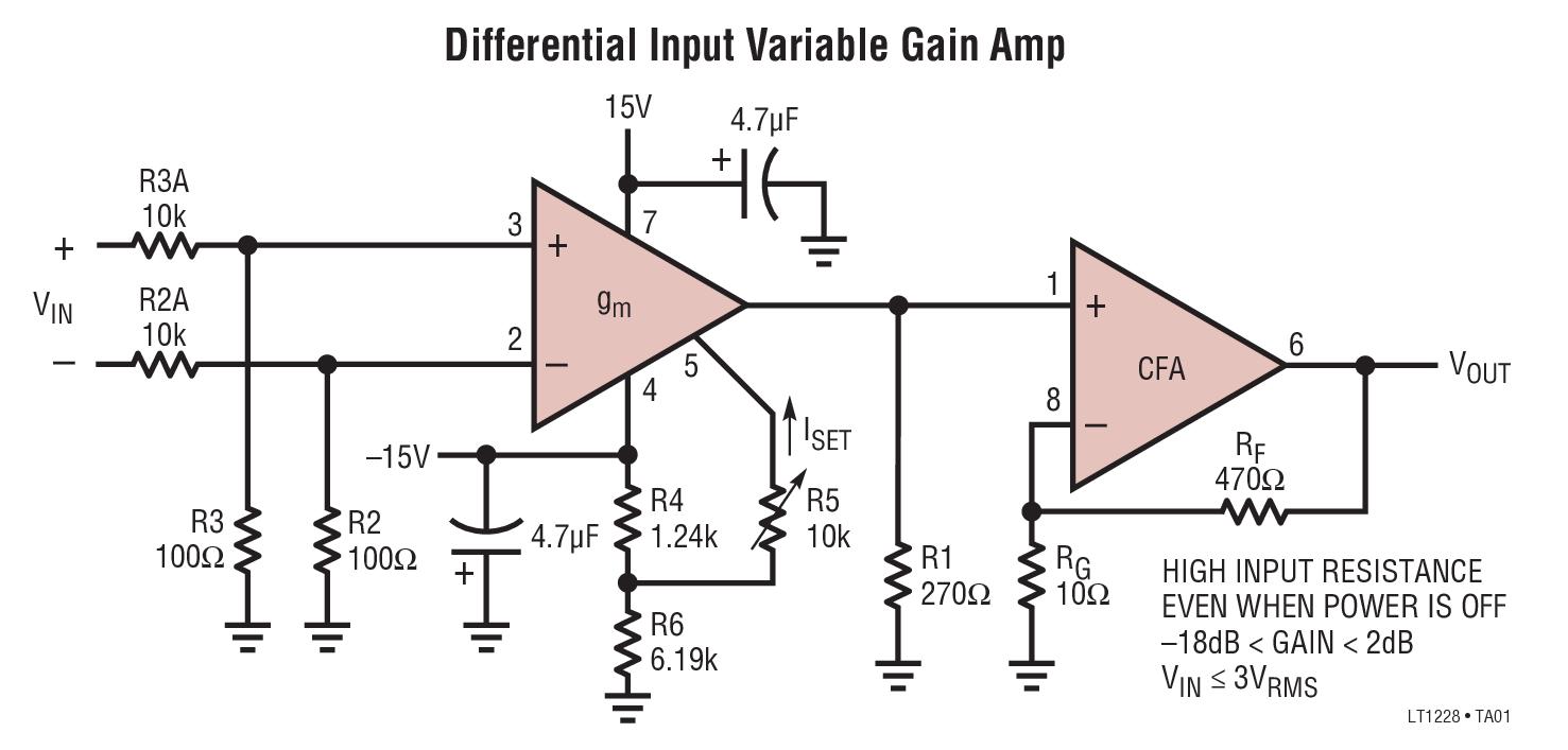 LT1228 具 DC增益控制功能的 100MHz 电流反馈放大器
